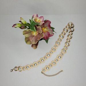 Zara Gold Pearls Chain Belt